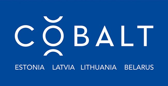 Cobalt logo mėlyname fone